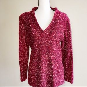 Coldwater Creek Womens Shawl Neck Red Sweater L